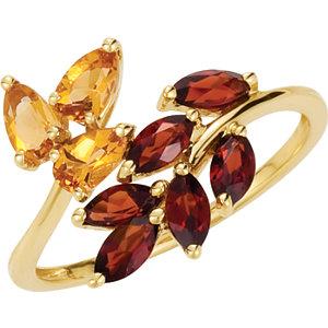 14Kt Yellow Gold Genuine Citrine & Mozambique Garnet Ring