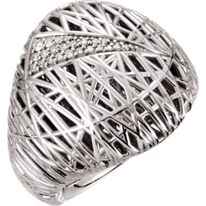 14Kt White Gold Diamond Nest-Design Ring