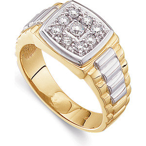 14Kt White & Yellow Gold Gents Diamond Ring