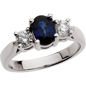 Platinum Genuine Sapphire & Diamond Ring