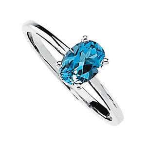 14Kt White Gold Genuine Swiss Blue Topaz Ring