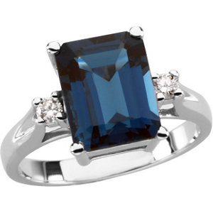14Kt White Gold London Blue Topaz & Diamond Ring