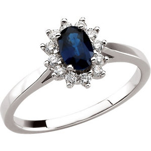 14Kt White Gold Oval Blue Sapphire & Diamond Ring