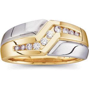 14Kt White & Yellow Gold Gents Diamond Ring