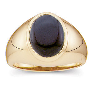 14Kt Yellow Gold Genuine Onyx Cabochon Ring
