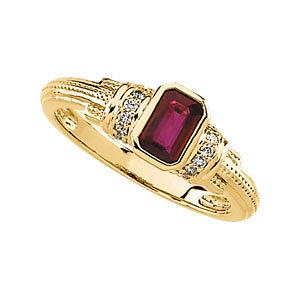 14Kt Yellow Gold Genuine Ruby & Diamond Ring