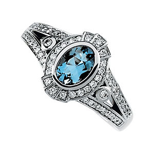 14Kt White Gold Diamond & Aquamarine Ring