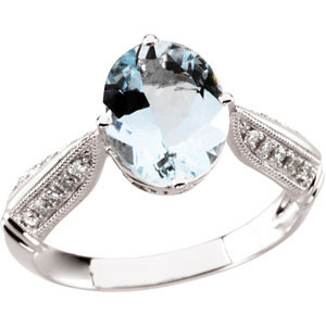 14Kt White Gold Genuine Aquamarine & Diamond Ring