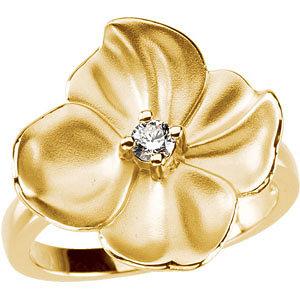 14Kt Yellow Gold Flower Design Diamond Ring