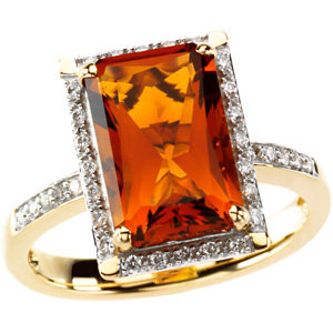 14Kt Yellow Gold Madeira Citrine & Diamond Ring