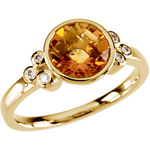 14Kt Yellow Gold Checkerboard Golden Citrine & Diamond Ring
