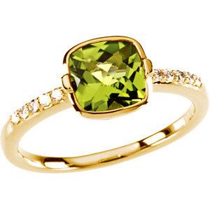 14Kt Yellow Gold Checkerboard Peridot & Diamond Ring