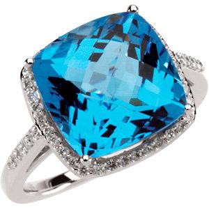 14Kt White Gold Checkerboard Swiss Blue Topaz & Diamond Ring