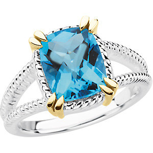 Sterling Silver & 14Kt Gold Swiss Blue Topaz Ring
