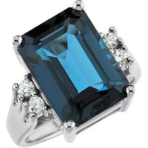 14Kt White Gold London Blue Topaz & Diamond Ring
