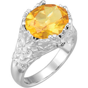 14Kt White Gold Genuine Citrine & Diamond Ring