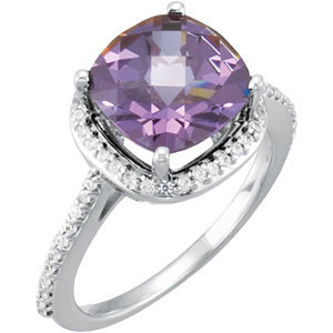 14Kt White Gold Checkerboard Amethyst & Diamond Ring