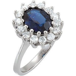 14Kt White Gold Genuine Sapphire & Diamond Ring