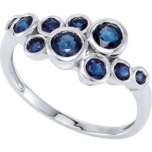 14Kt White Gold Genuine Sapphire Ring