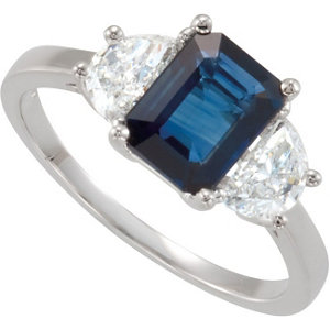 14Kt White Gold Blue Sapphire & Half Moon Diamond Ring