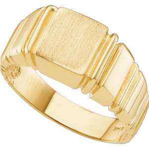 14Kt Yellow Gold Men's Square Signet Ring