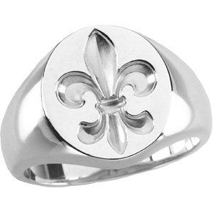 Sterling Silver Gents Signet Ring with Fleur-de-lis