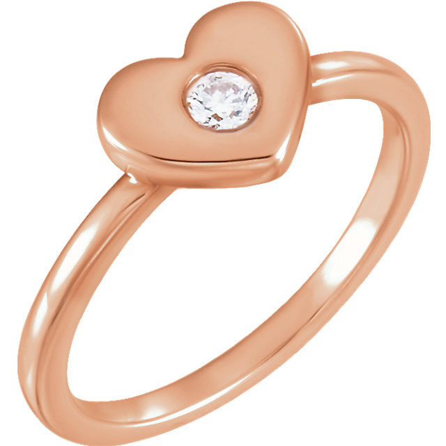 14kt Rose Gold Diamond Heart Ring