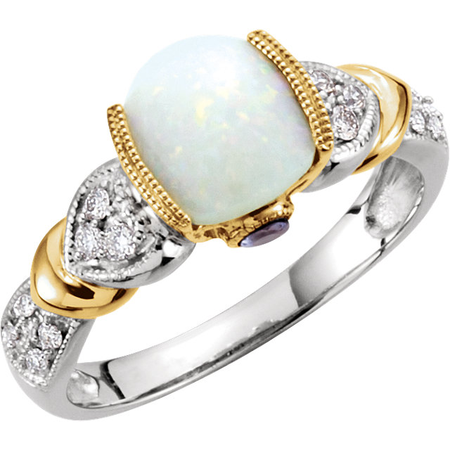 14Kt Two-Tone White and Yellow Gold Opal and Diamond Ring
