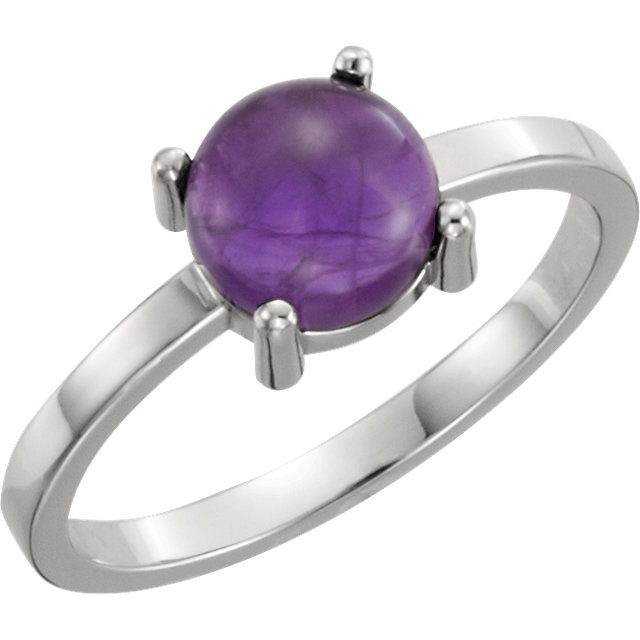 14kt White Gold Round Amethyst Cabochon Ring