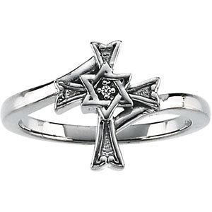 14Kt White Gold Star of David Cross Ring