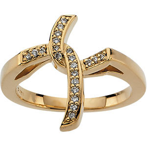 14Kt Yellow Gold Diamond Cross Ring