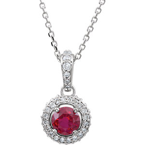 14Kt White Gold Ruby & Diamond Entourage Necklace