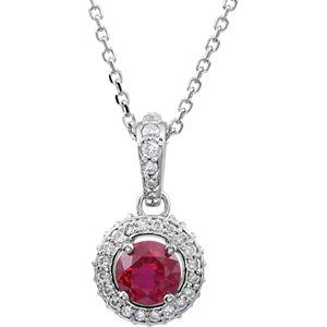 14Kt White Gold Ruby & Diamond Entourage Necklace