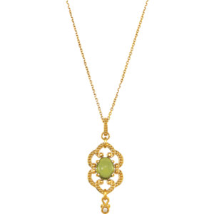 14Kt Yellow Gold Granulated Design Dangle Necklace