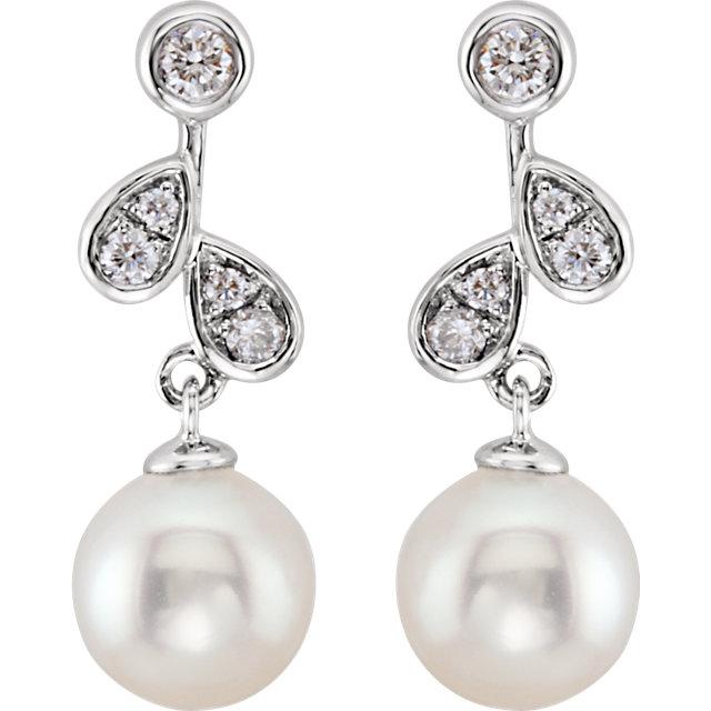 14Kt White Gold Diamond & Freshwater Cultured Pearl Earrings