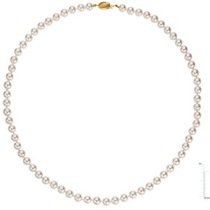14Kt Yellow Gold Akoya Cultured Pearl Strand