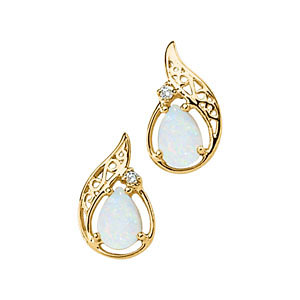 14Kt Yellow Gold Opal Cabochon & Diamond Earrings