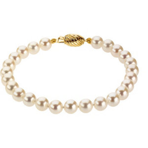 14Kt Yellow Gold Akoya Cultured Pearl Bracelet