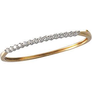 14Kt Yellow & White Gold Diamond Bangle Bracelet