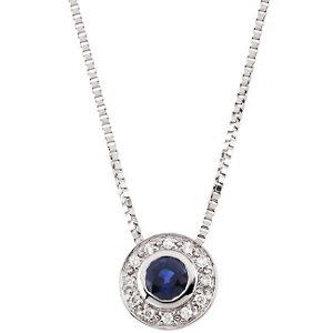 14Kt White Gold Blue Sapphire & Diamond Necklace