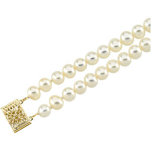 14Kt Yellow Gold Pearl Double Strand Bracelet