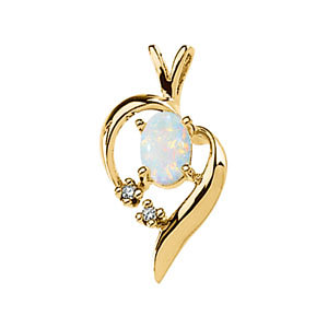 14Kt Yellow Gold Cabochon Opal & Diamond Pendant