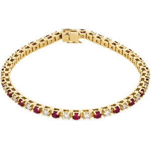 14Kt Yellow Gold Genuine Ruby & Diamond Bracelet
