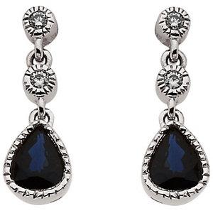 14Kt White Gold Blue Sapphire & Diamond Earrings