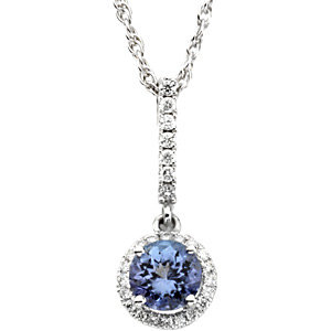 14Kt White Gold Tanzanite & Diamond Pendant