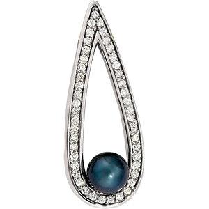 14Kt White Gold Cultured Black Pearl & Diamond Pendant