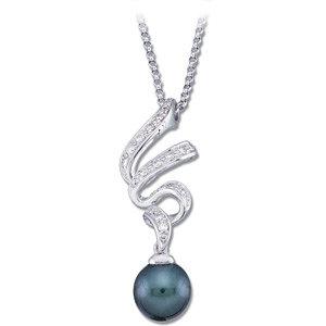 14Kt White Gold Diamond & Tahitian Pearl Pendant