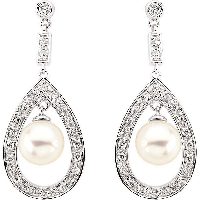 14Kt White Gold Freshwater Cultured Pearl & Diamond Earrings