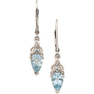 14Kt White Gold Genuine Aquamarine & Diamond Earrings