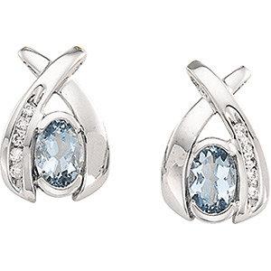 14Kt White Gold Aquamarine & Diamond Earrings